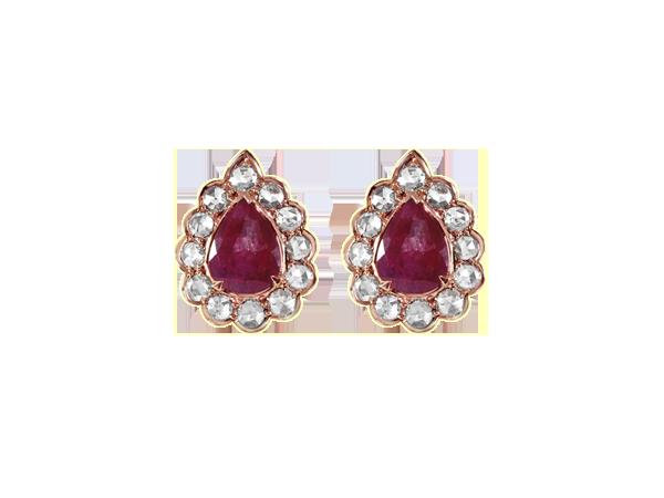 RUBY & WHITE ROSE CUT DIAMOND TOPS IN 14K