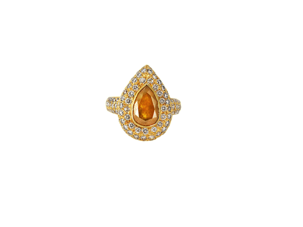 ICY YELLOW DIA RING  IN 18K