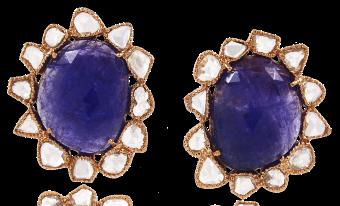 TANZANITE WITH ROSE CUT DIAMOND EARRINGS TOPS IN 14K