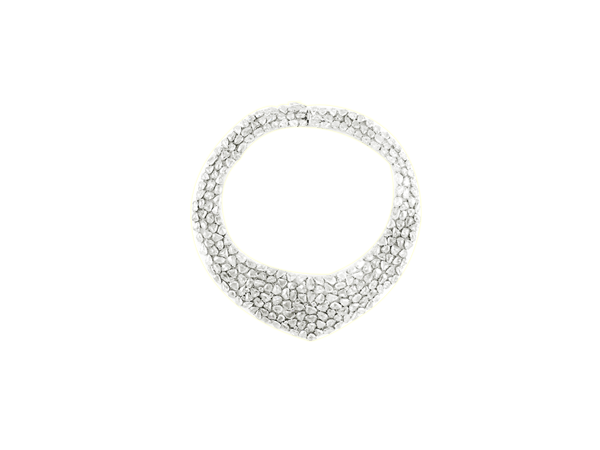 WHITE ROSE CUT DIAMOND  NECKLACE IN 18K