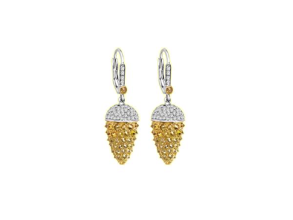 WHITE & YELLOW DIAMOND UP SIDE DOWN SET EARRINGS IN 18K