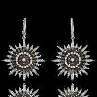WHITE, YELLOW & ORANGE DIAMOND STAR EARRINGS IN 18K