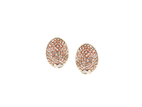 ROSE CUT WHITE DIAMOND WHITE GOLD EGG SHAPE EARRINGS