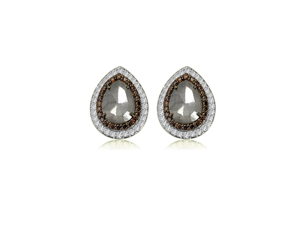 PEAR SHAPE ICY DIAMOND WITH BURNT ORANGE AND WHITE DIAMOND TOPS IN 18K
