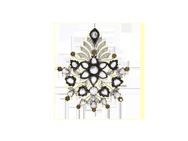 ROSE CUT DIAMOND & NATURAL BURNT ORANGE DIAMOND ACCENT PENDANT CUM BROOCH IN 18K