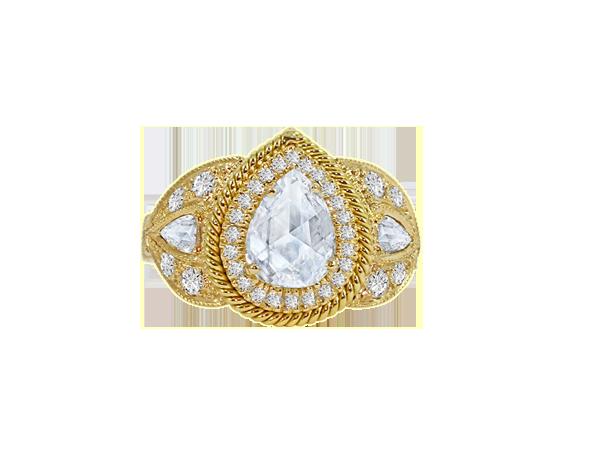 PEAR SHAPE ROSE CUT DIAMOND RING IN 18K