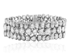WHITE ROSE CUT DIAMOND  3 ROW BRACELET IN 18K