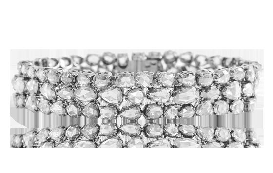 WHITE ROSE CUT DIAMOND  3 ROW BRACELET IN 18K
