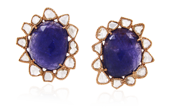 TANZANITE WITH ROSE CUT DIAMOND EARRINGS TOPS IN 14K