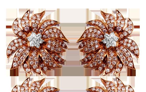 YELLOW, BROWN DIAMOND SLICE FLORAL EARRINGS