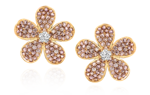 YELLOW DIAMOND CENTER AND PINK DIAMOND FLOWER EARRINGS IN 18K